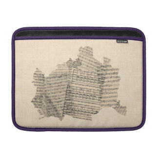 Old Sheet Music Map of Vienna Austria Map MacBook Sleeves