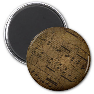 Old sheet musical score, grunge music notes 2 inch round magnet