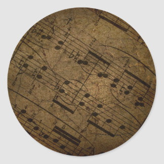 Old sheet musical score, grunge music notes classic round sticker
