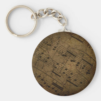 Old sheet musical score, grunge music notes keychain