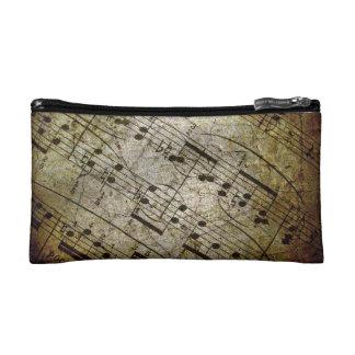 Old sheet musical score, grunge music notes makeup bag