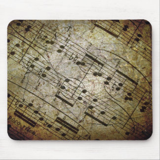 Old sheet musical score, grunge music notes mouse pad