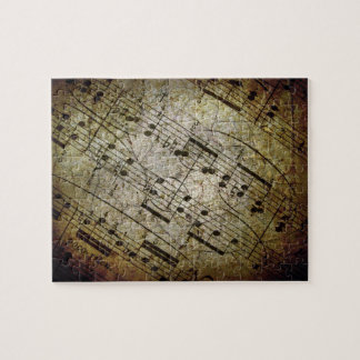 Old sheet musical score, grunge music notes jigsaw puzzles