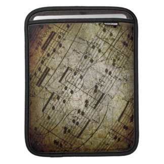 Old sheet musical score, grunge music notes sleeves for iPads