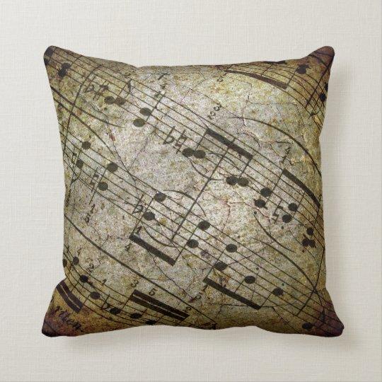 Old sheet musical score, grunge music notes throw pillow