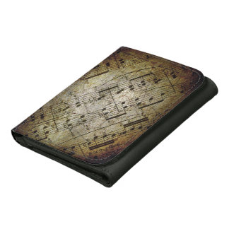 Old sheet musical score, grunge music notes leather trifold wallets