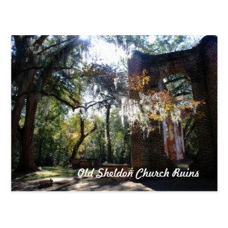 Old Sheldon Church Ruins Postcard