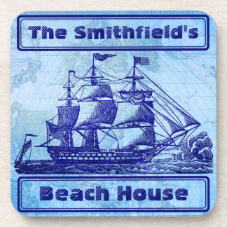 Old Ship and Map Blue Beach House Beverage Coaster