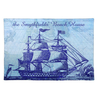 Old Ship and Map Blue Beach House Cloth Placemat