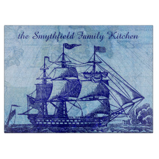 Old Ship and Map Blue Beach House Cutting Board
