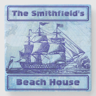 Old Ship and Map Blue Beach House Stone Beverage Coaster