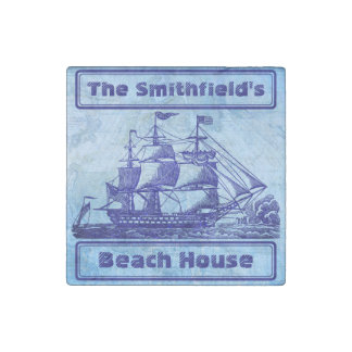Old Ship and Map Blue Beach House Stone Magnet