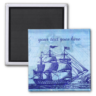 Old Ship and Map Blue Beach House Magnet