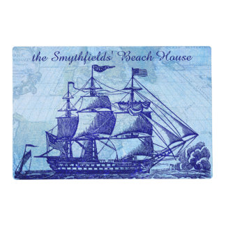 Old Ship and Map Blue Beach House Placemat