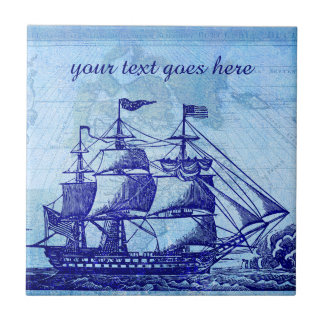 Old Ship and Map Blue Beach House Small Square Tile