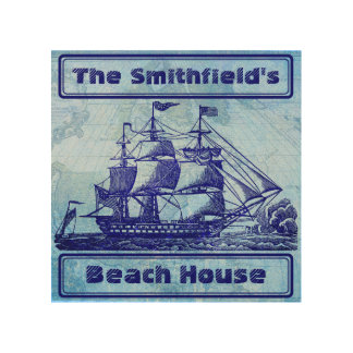 Old Ship and Map Blue Beach House Wood Print