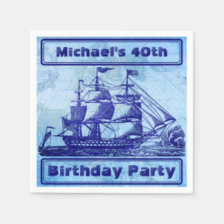 Old Ship and Map Blue Beach Party Paper Napkin