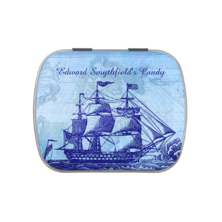 Old Ship and Map Blue Beach Personalized Jelly Belly Tins
