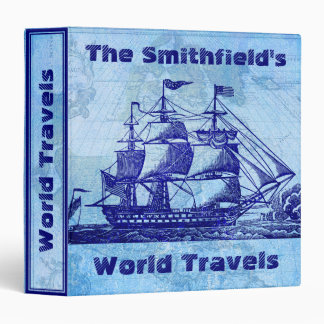 Old Ship and Map Blue Nautical Travel 3 Ring Binder