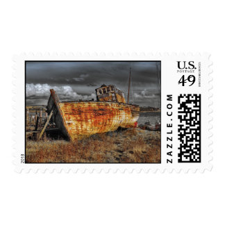 Old ship boat wreckage postage