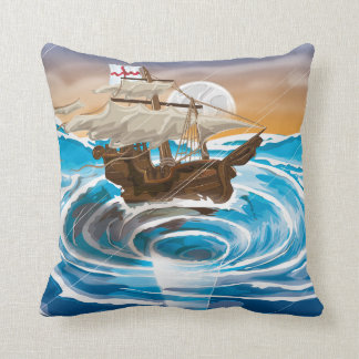 Old Ship Falling into a Whirlpool Throw Pillow