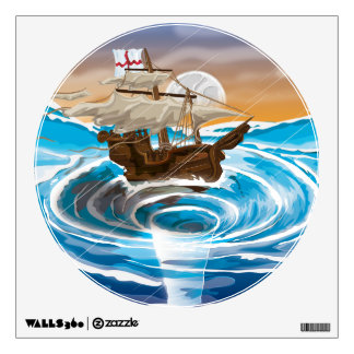 Old Ship Falling into a Whirlpool Wall Sticker