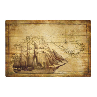 Old Ship Map Laminated Placemat