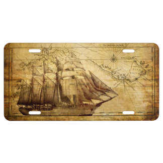 Old Ship Map License Plate