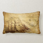 Old Ship Map Lumbar Pillow