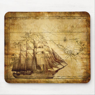 Old Ship Map Mouse Pad