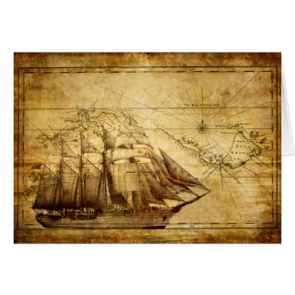 Old Ship Map Note Card