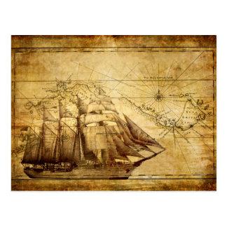 Old Ship Map Postcard