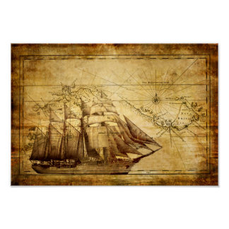 Old Ship Map Poster