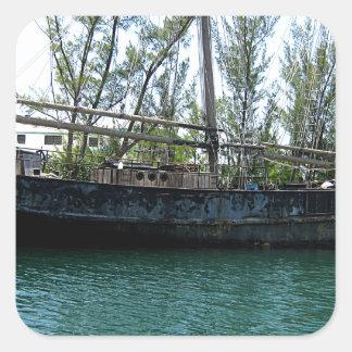 Old Ship Square Sticker