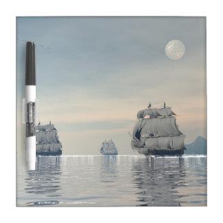Old ships on the ocean - 3D render Dry Erase Board