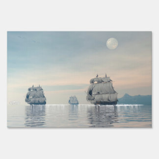 Old ships on the ocean - 3D render Lawn Sign
