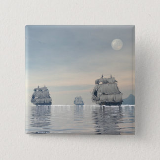 Old ships on the ocean - 3D render Pinback Button
