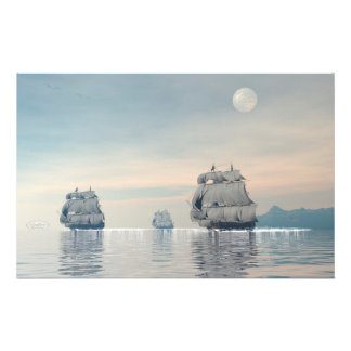 Old ships on the ocean - 3D render Stationery