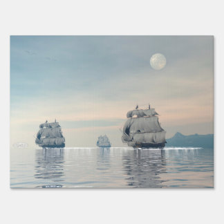 Old ships on the ocean - 3D render Yard Sign