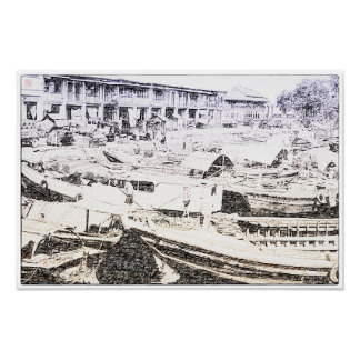 Old Singapore River Drawing Poster
