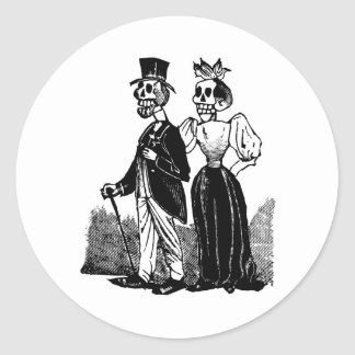Old Skeleton Couple circa early 1900s, Mexico Classic Round Sticker