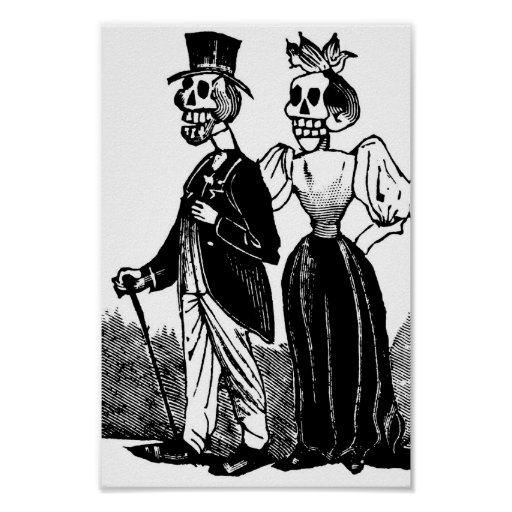 Old Skeleton Couple circa early 1900s, Mexico Posters