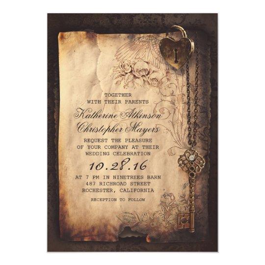 old_skeleton_key_vintage_and_gothic_wedding_card rd0b4609530ef43588acee3e265894e02_zkrqs_540?rlvnet=1 vintage wedding invitations & announcements zazzle,Wedding Invitation Cards Usa