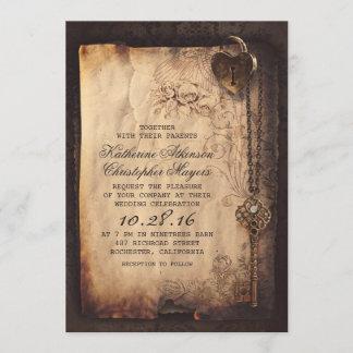 Old Skeleton Key Vintage and Gothic Wedding Invitation