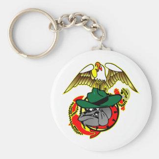 Old Skool Eagle Bulldog Anchor Basic Round Button Keychain
