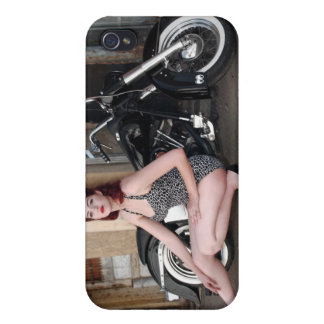 Old Skool Motorcycle Hot Pin Up Girl iPhone 4 Case