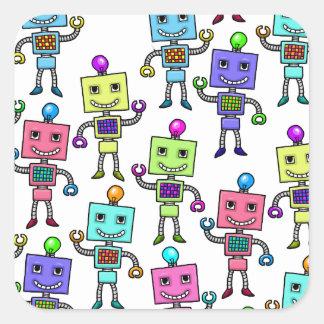 Old Skool retro Robots Square Sticker