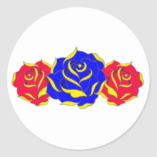 Old Skool Rose Classic Round Sticker
