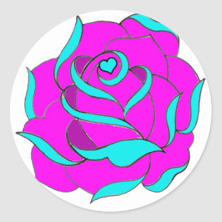 Old Skool Rose Heart centre Classic Round Sticker