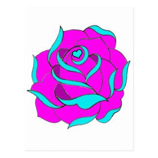 Old Skool Rose Heart centre Postcard